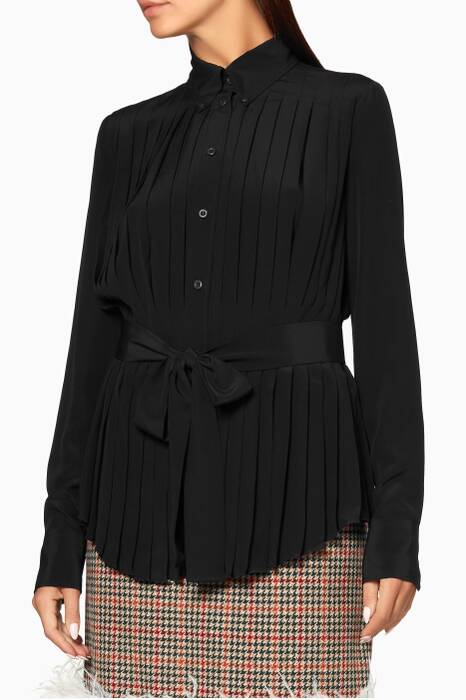 Black Pleated & Belted Shirt