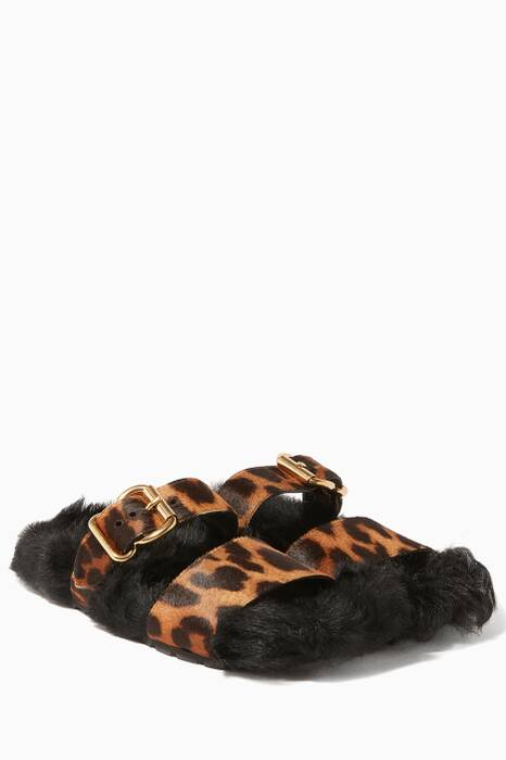 Black Shearling-Lined Leopard Print Slides