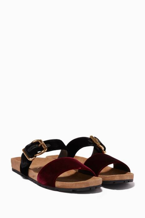 Multi-Coloured Velvet Flat Sandals