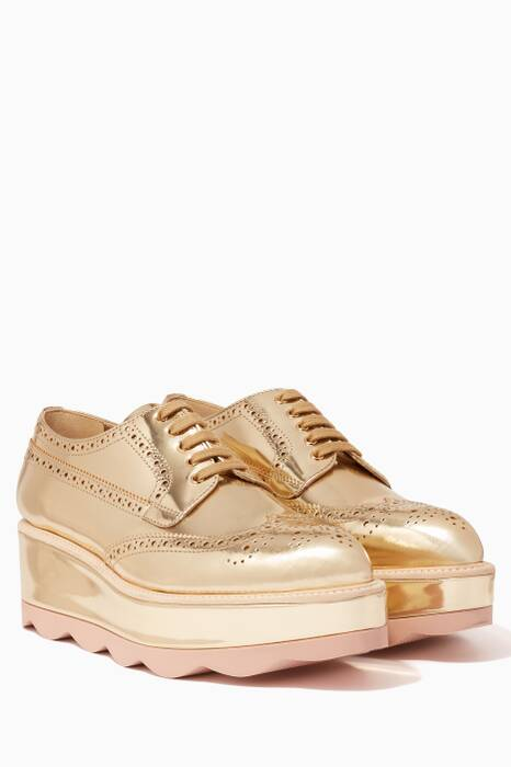 Metallic-Gold Iconic Wave Platform Loafers