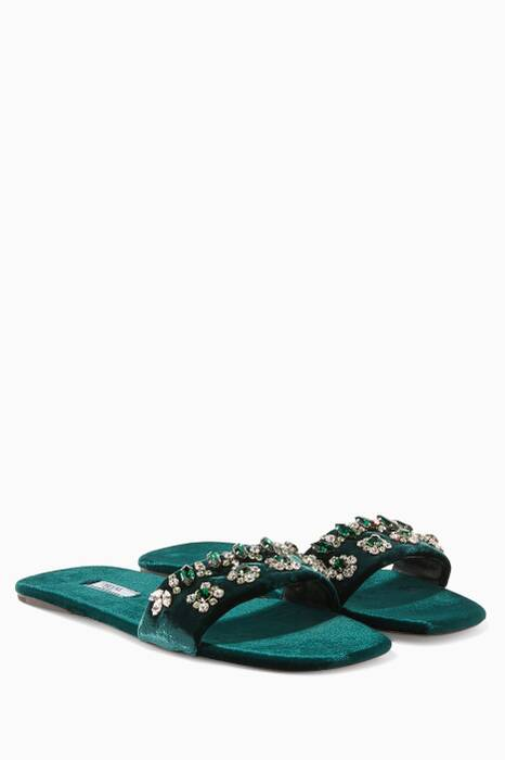 Dark Green Velvet Embellished Slides