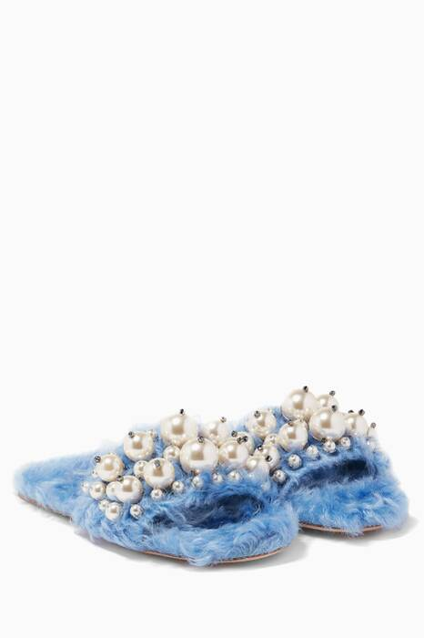 Light-Blue Eco Shearling Sandals