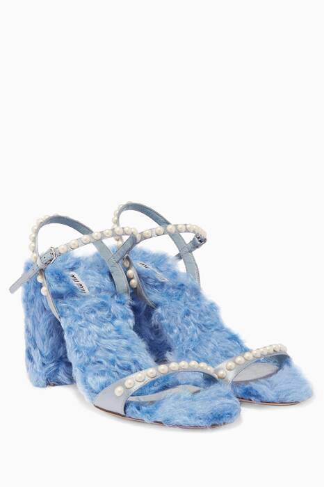 Blue Pearl-Embellished Eco-Shearling Sandals