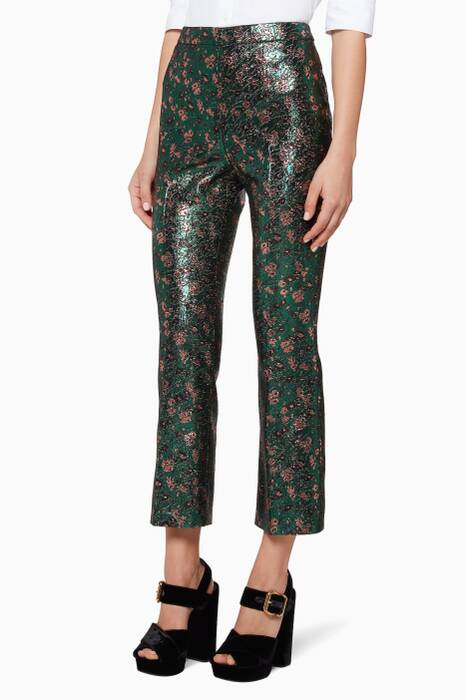 Green, Black & Antique-rose Jacquard Pants