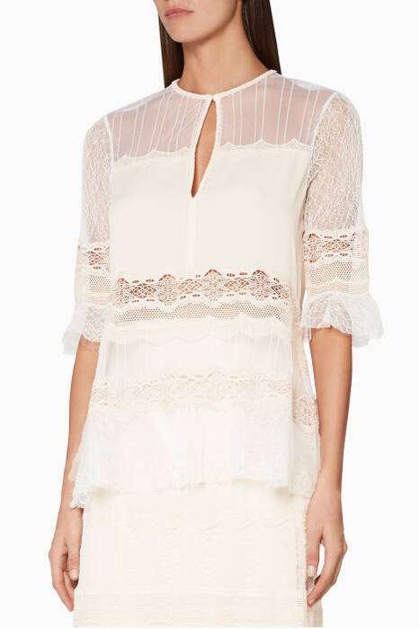 Blush Lace-Trimmed Silk-Chiffon & Tulle Blouse