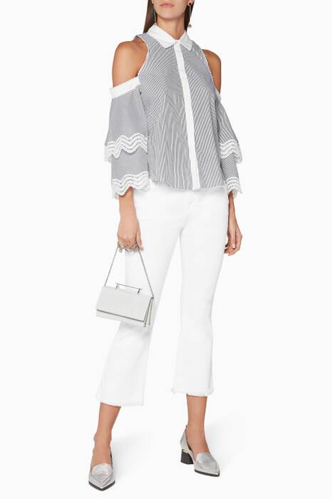 Grey Pinstriped Ruffled-Sleeve Cold-Shoulder Top