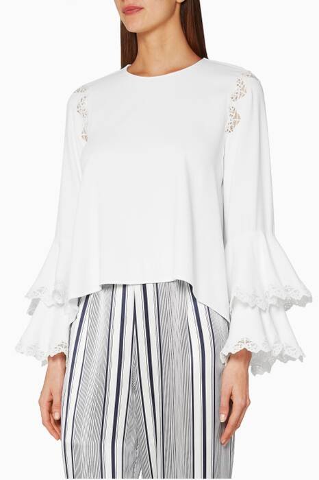 Ivory Lace Ruffled Sleeve Top