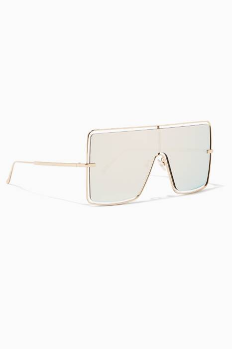Gold Blade 2 Oversized Mirrored Sunglasses