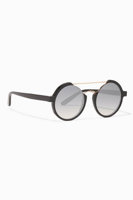 Black Tech2 Round-Frame Sunglasses