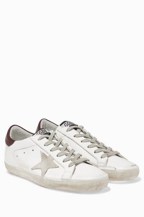 White & Bordeaux Low-Top Superstar Sneakers