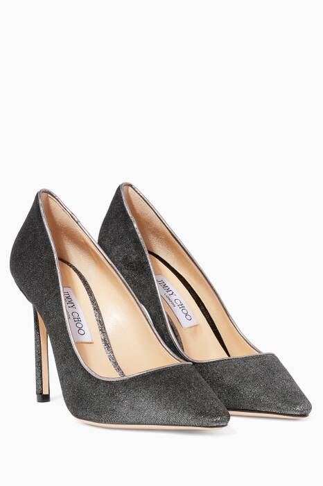 Metallic Dark-Grey Velvet Romy Pumps
