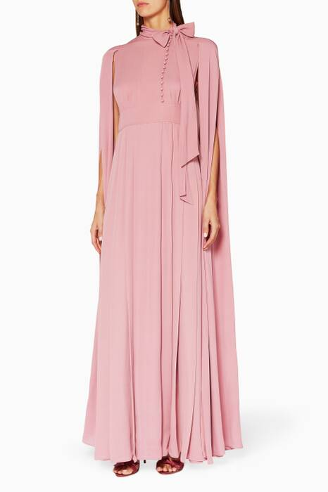 Light-pink Cape Back Gown