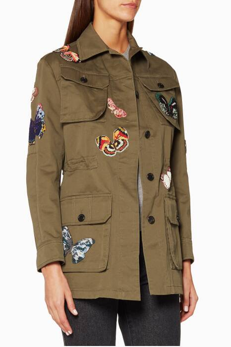 Khaki Embroidered Utility Jacket