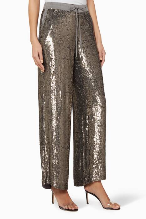 Gold Sequin Wide-Leg Pants