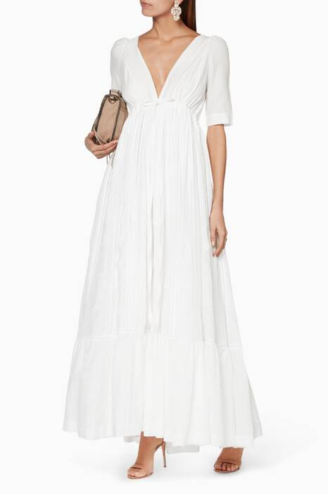 White Ushi & Wild Sky Maxi Dress