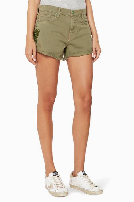 Green Embroidered Denim Shorts