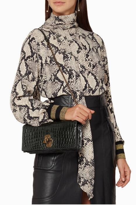 Dark Moss Croc Fume Clutch Bag
