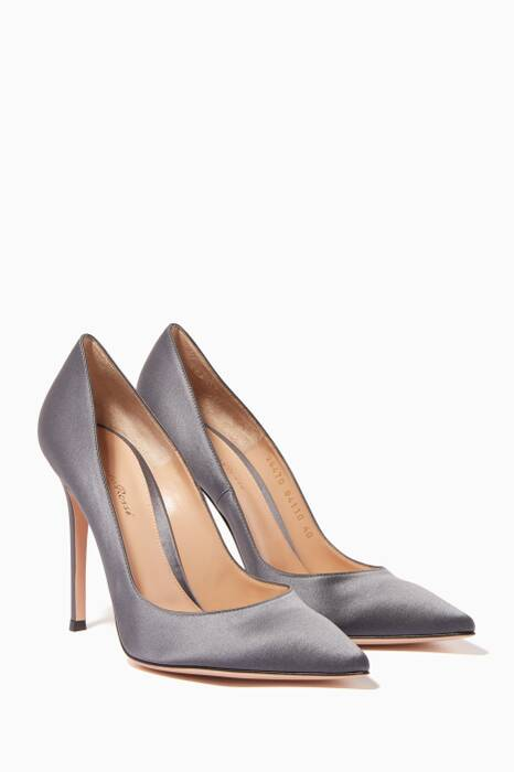 Grey Gianvito Satin Pumps