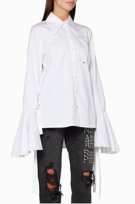 White Bow-Sleeve Shirt