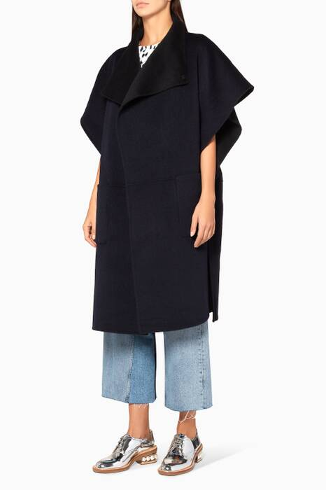 Navy Reversible Angora Wool Cape