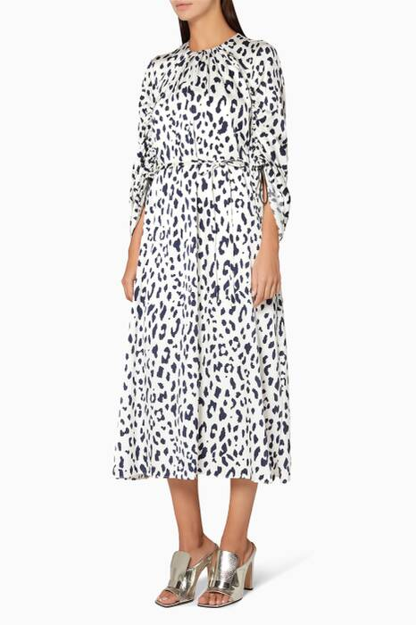 Cheetah-Printed Satin Dress