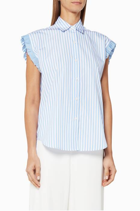 Blue Striped Tie-Back Cotton Shirt