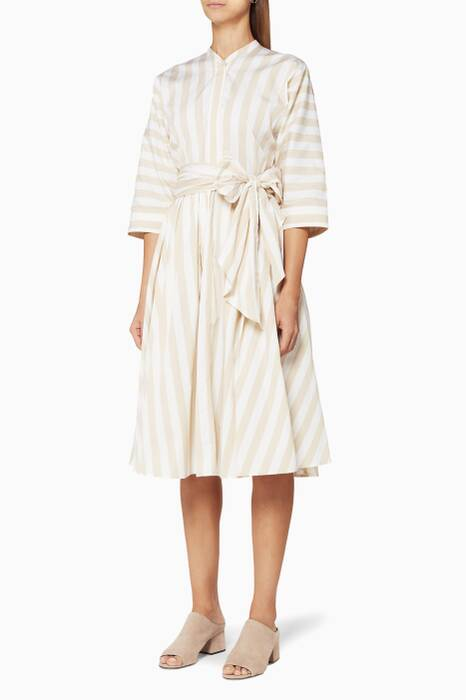 Beige Striped Dolman Cotton Dress