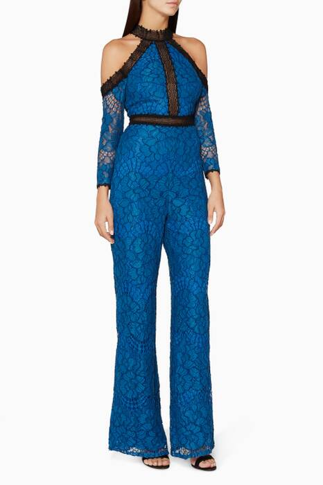 Blue Ivoree Lace Jumpsuit