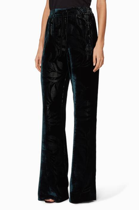 Dark-Green Velvet Pants