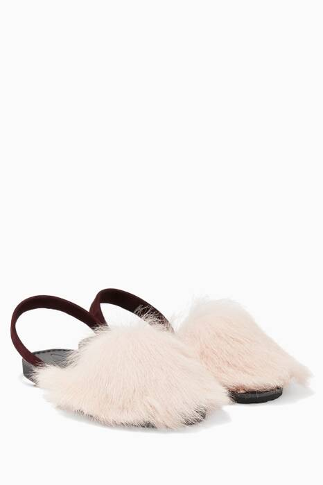 Dust-Pink Tuscan Lamb-Fur Sandals