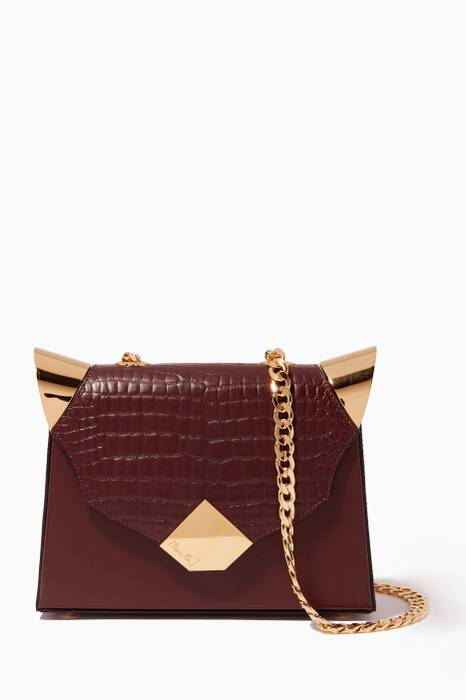 Maroon Baby Marshall Leather Shoulder Bag