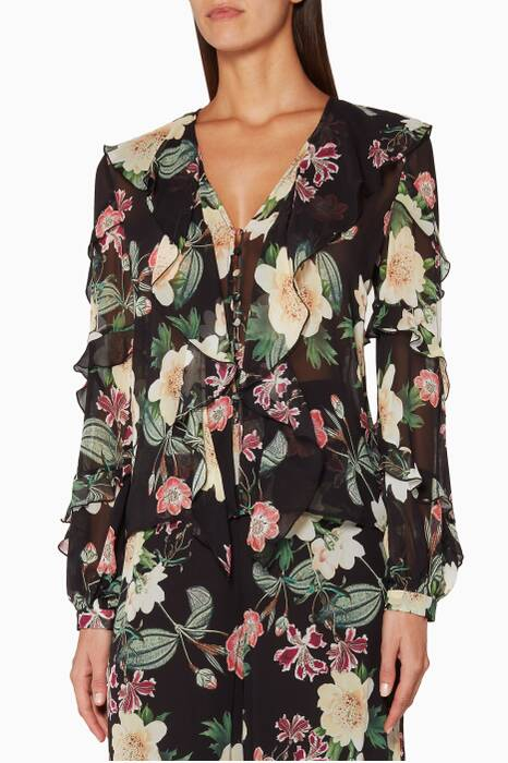 Black Camille Floral Palazzo Blouse