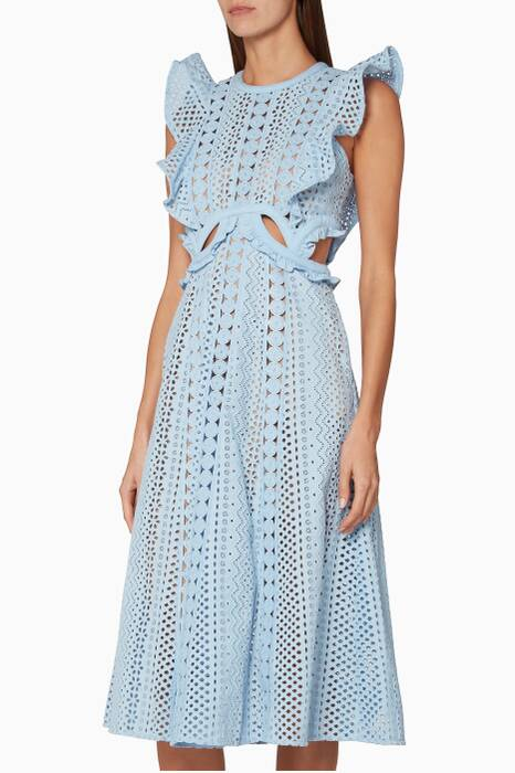 Baby-Blue Embroidered Cut-Out Midi Dress