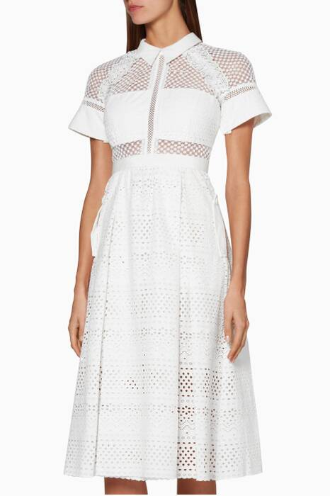 White Floral Broderie Midi Dress