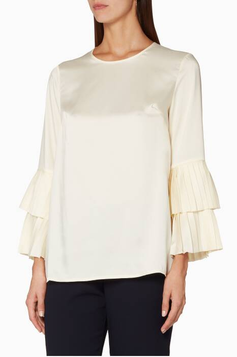 Cream Long-Sleeved Ruffled Top