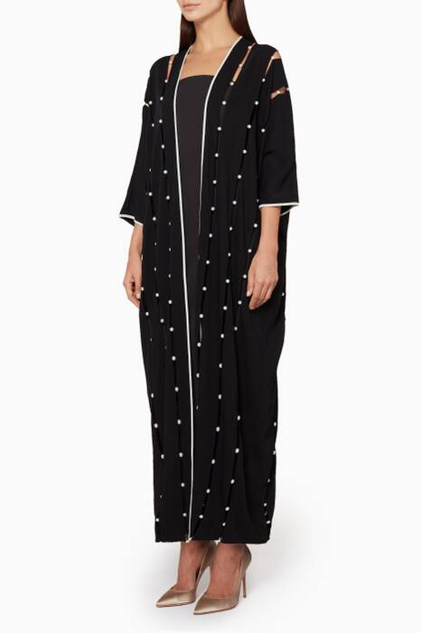 Black & White Pearl-Embellished Vertical Abaya