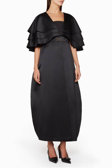 Black Taffeta-Tiered Coat
