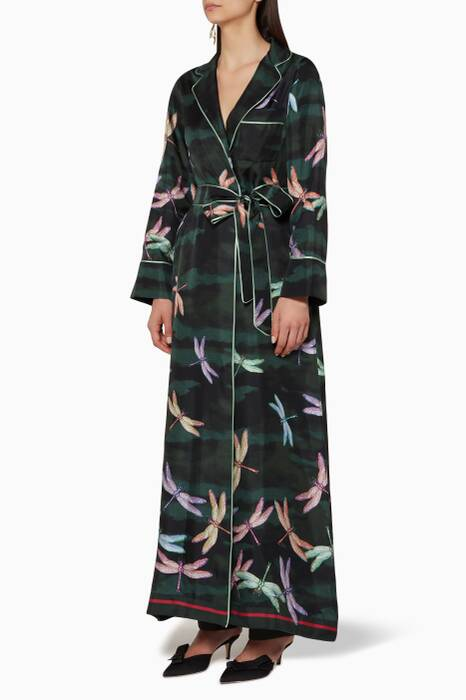 Green Dragonfly-Print Roda Robe