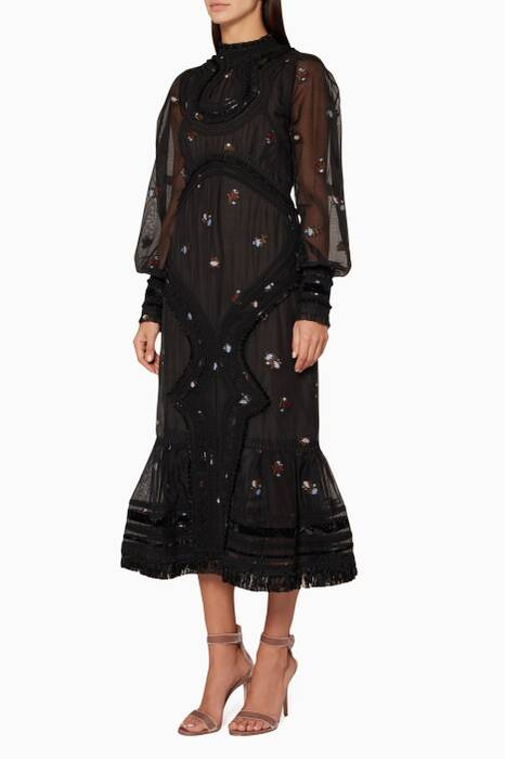 Black Floral Jacquard Printed Tracy Dress