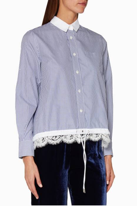 Striped Cotton-Poplin Lace-Trimmed Shirt