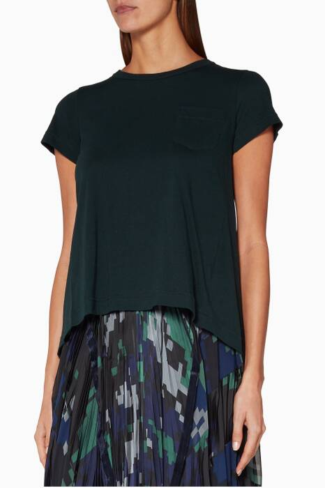 Green Cotton Pleat Back T-Shirt