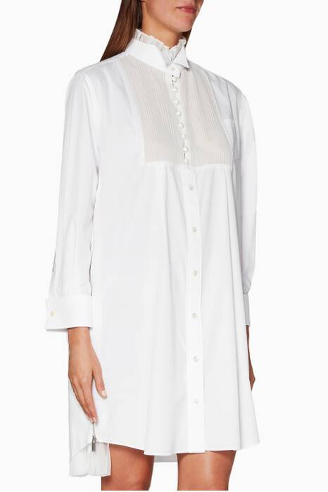 White Cotton Pleated Shirt Dress