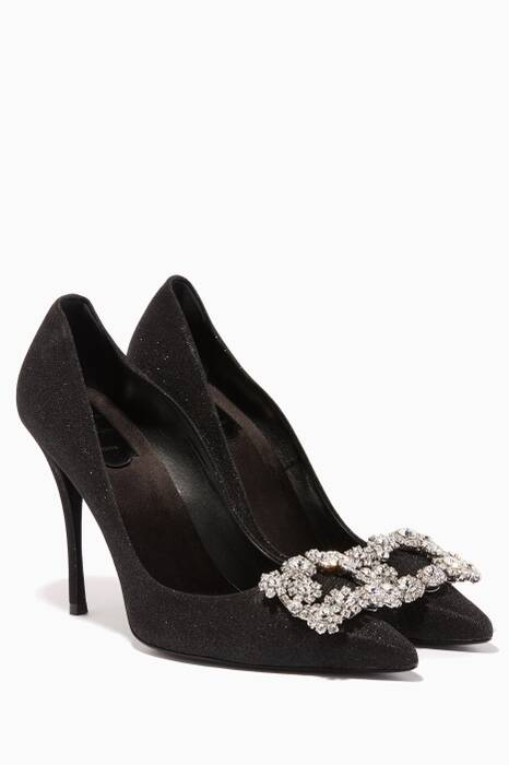 Black Flower Strass Glittered Pumps