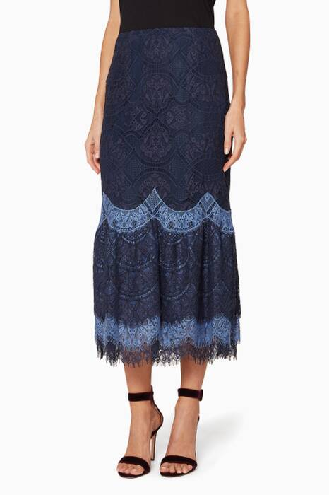 Navy Lace Ruffled Skirt