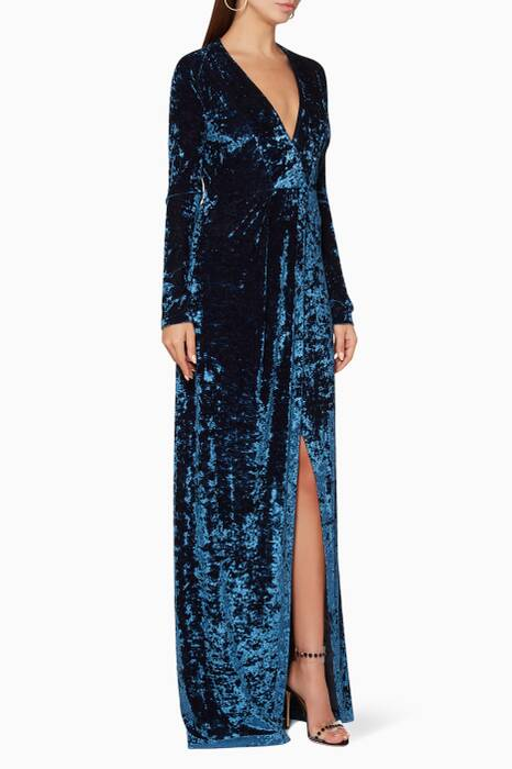 Blue Hammered-Velvet Cloud Gown