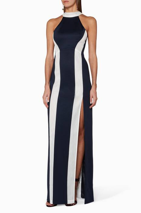 Midnight & White Striped Column Jersey Gown