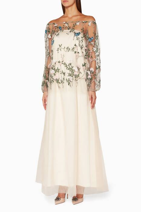 Cream Bird-Embroidered Off-The-Shoulder Gown