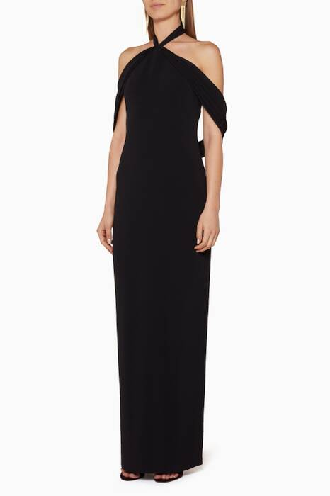Black Draped Shoulder Gown