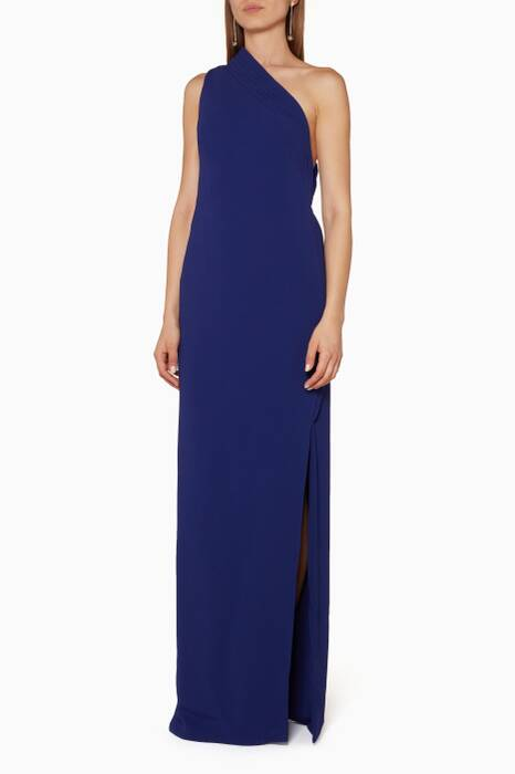 Blue One-Shoulder Gown