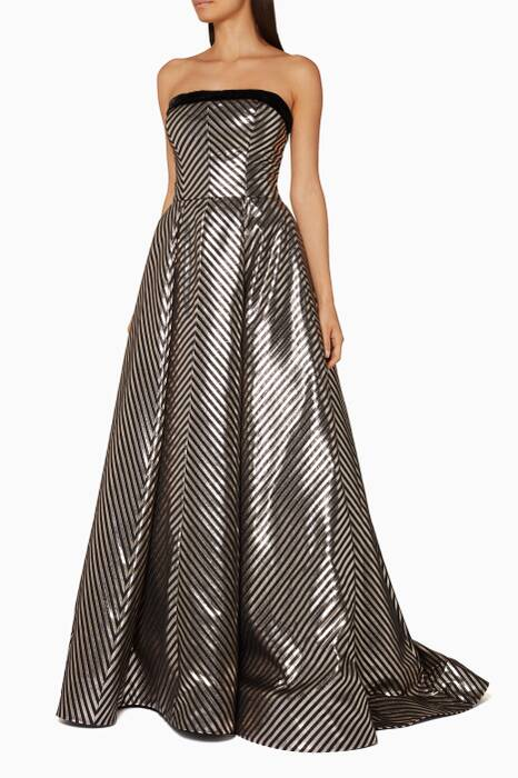 Silver Striped Lurex Jacquard Ball Gown